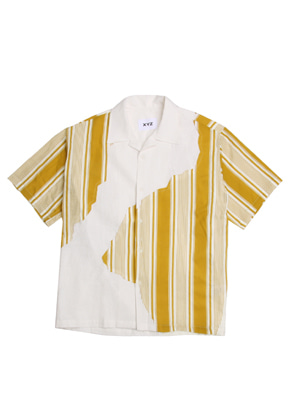 XYZ [다이나믹듀오 - 개코 착용] UNISEX STRIPED PATCH SHIRTS - MUSTARD
