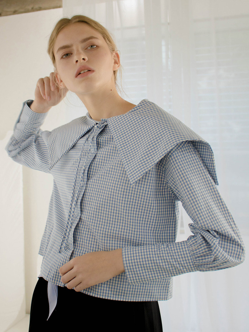 Sinoon시눈 Bigleaf sailor blouse (sky blue)
