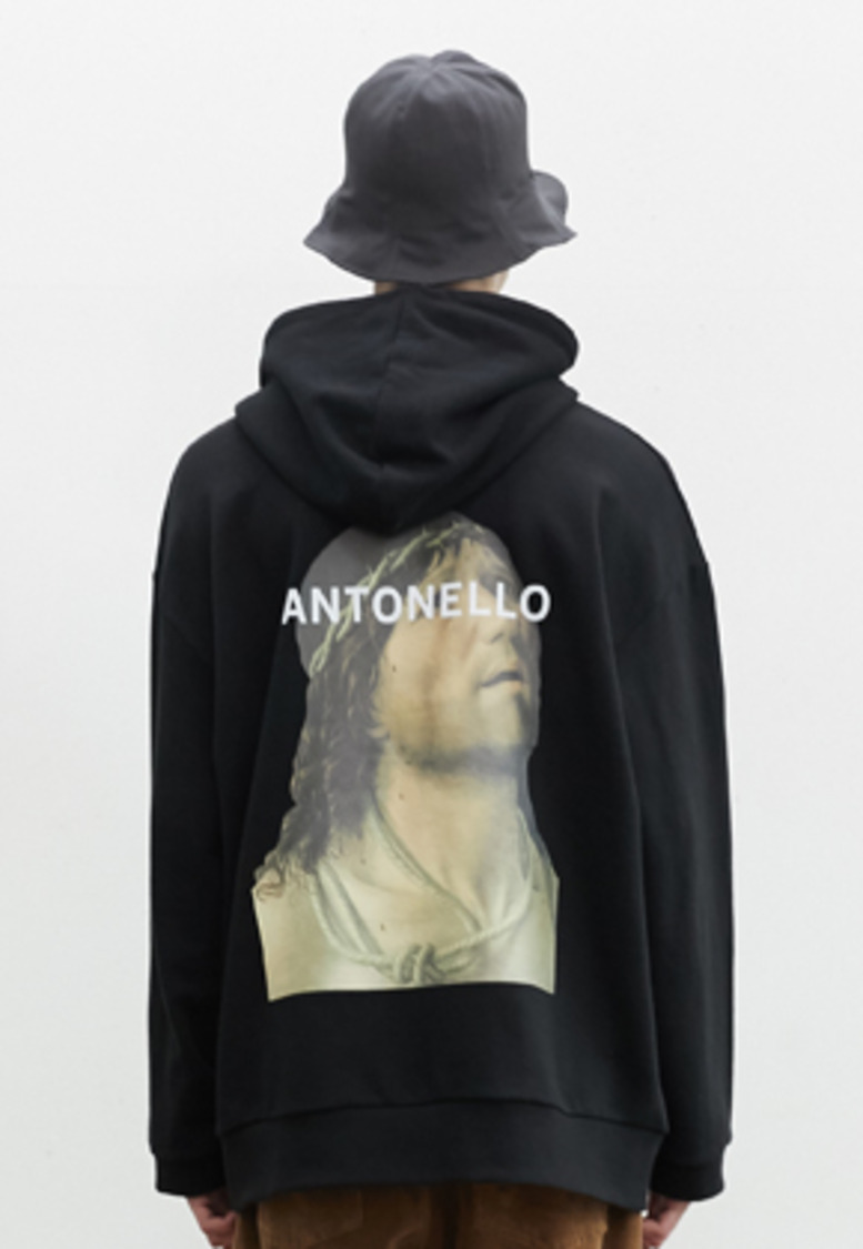 SNACKCULTURE스낵컬쳐 Christ at the Column Oversized Hoody Sweatshirt_Black