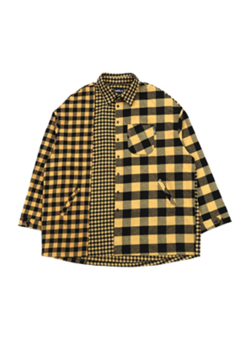 AJO BY AJO아조바이아조 Over Twofold Check Shirt (Yellow)