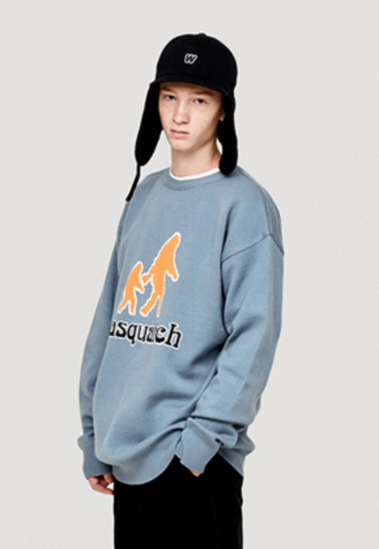 WKNDRS위캔더스 SASQUATCH KNIT CREWNECK (S.BLUE)