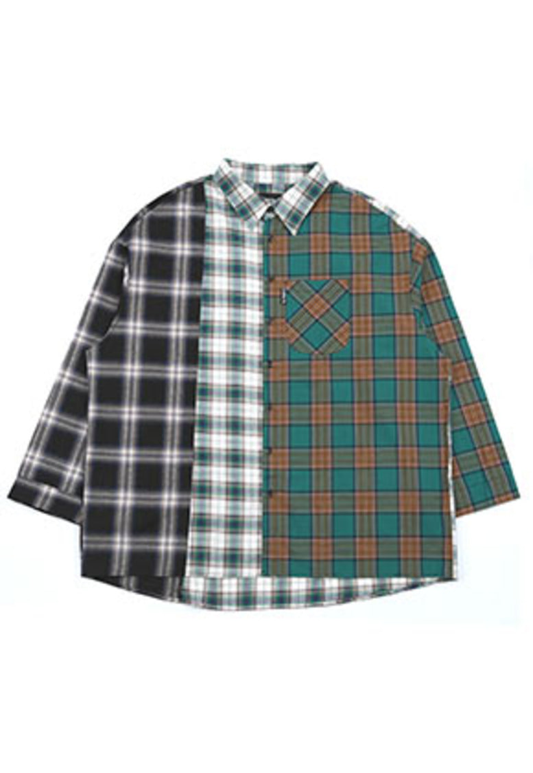Over Check Color Mixed Shirt (Green)