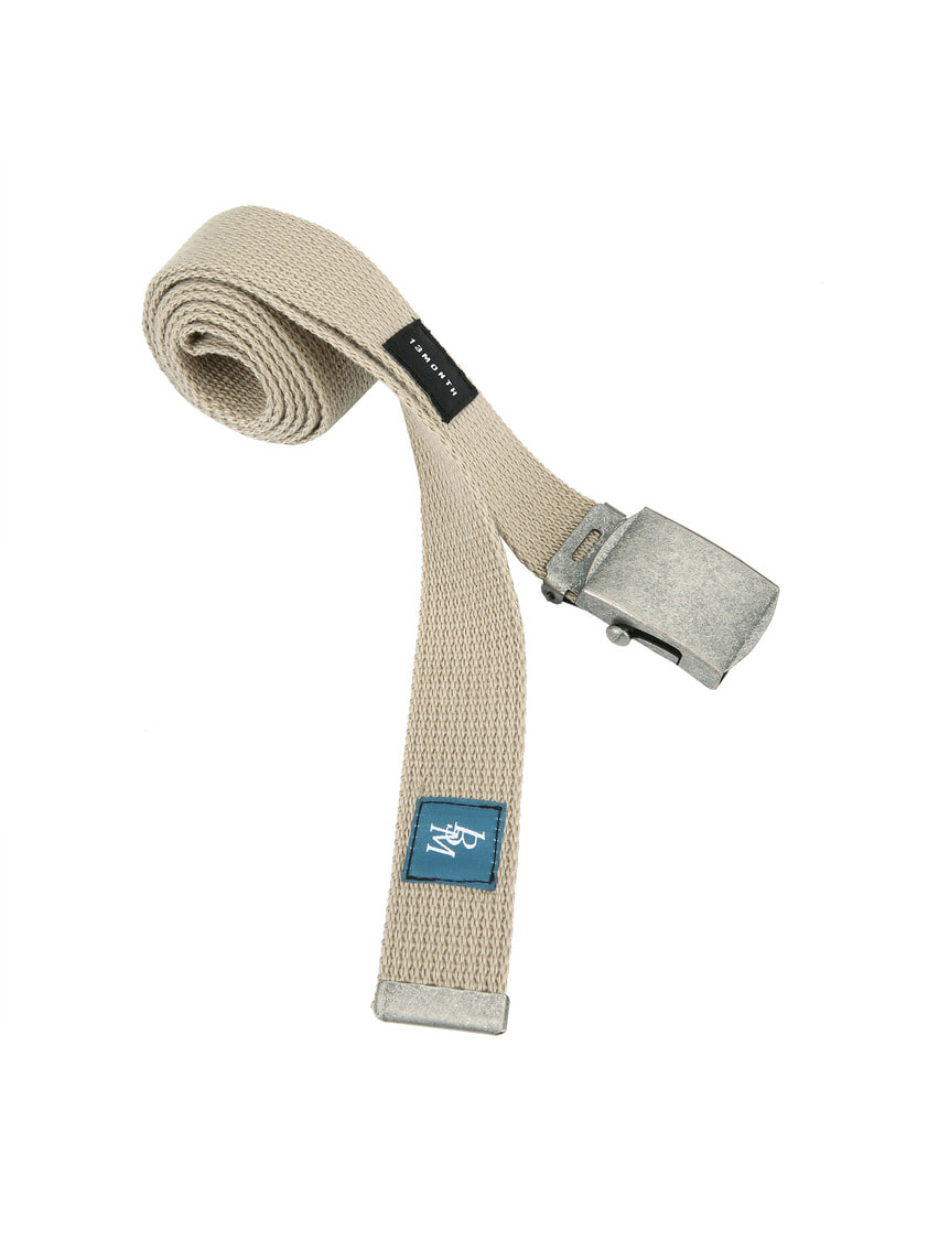 13Month써틴먼스 SQUARE BUCKLE WEBBING BELT (BEIGE)