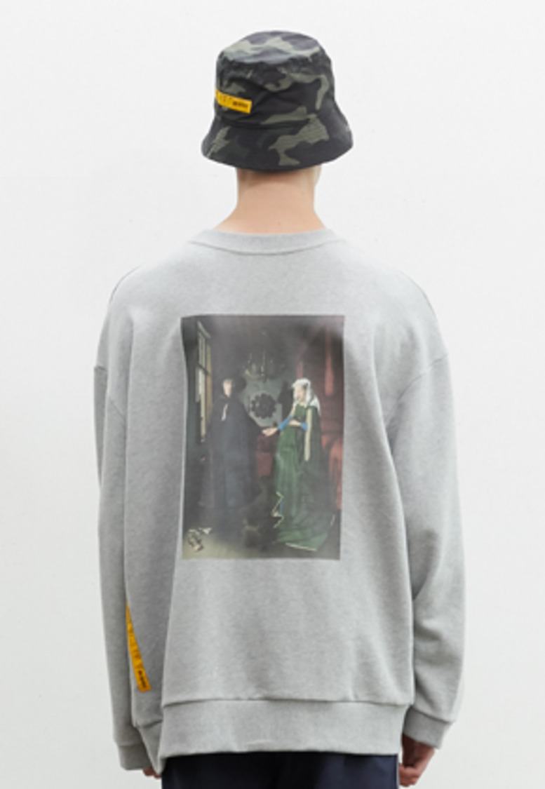 SNACKCULTURE스낵컬쳐 Arnolfini Portrait Oversized Sweatshirt_Grey