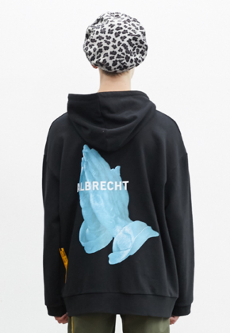 SNACKCULTURE스낵컬쳐 Praying Hands Oversized Hoody Sweatshirt_Black
