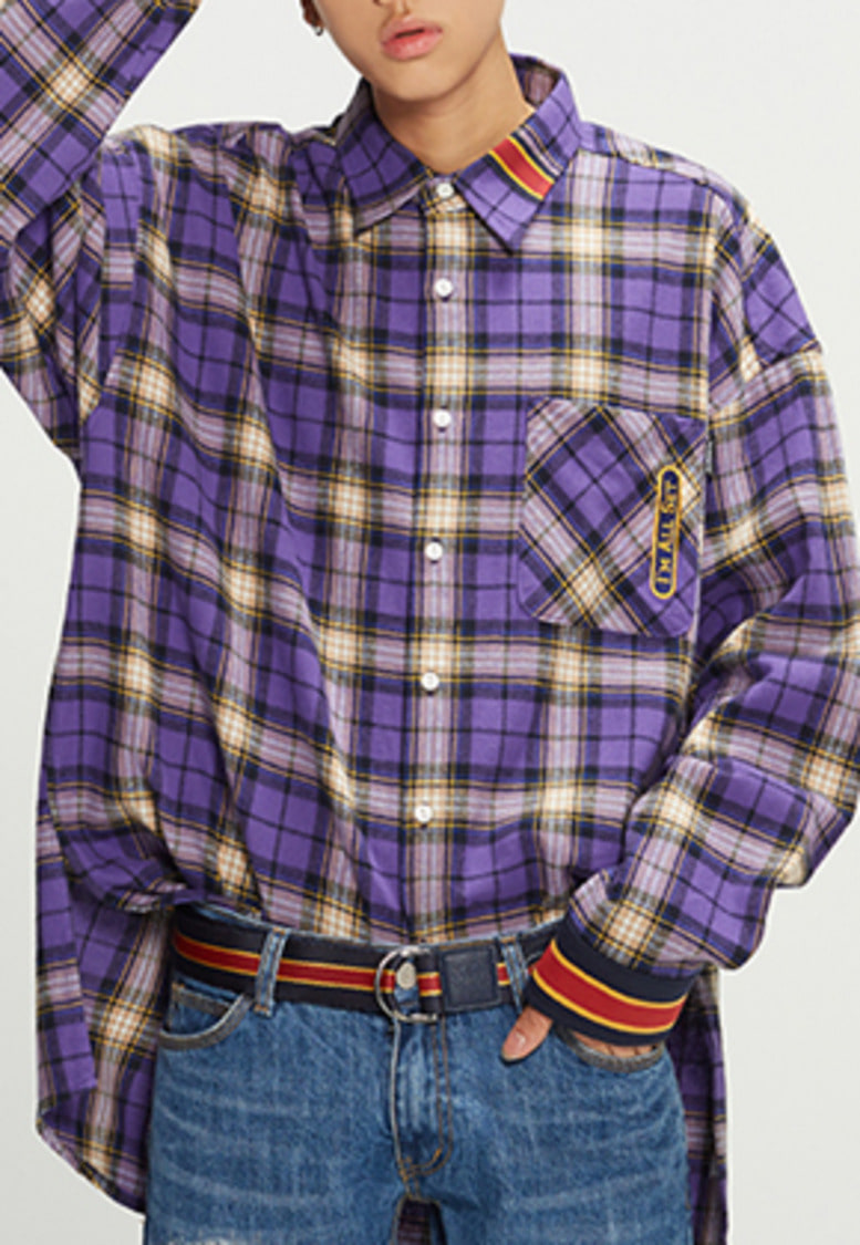 Romantic Crown로맨틱크라운 RMTCRW Check Shirt_Purple