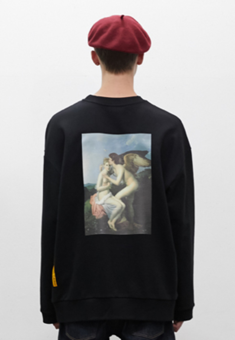 SNACKCULTURE스낵컬쳐 Cupid and Psyche Oversized Sweatshirt_Black