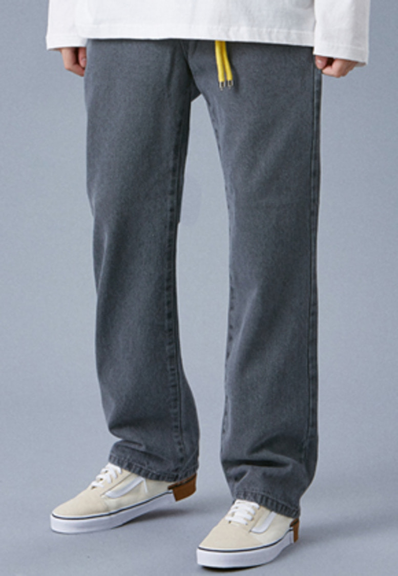 Voiebit브아빗 V232 NONE SPAN WIDE DENIM PANTS  GRAY