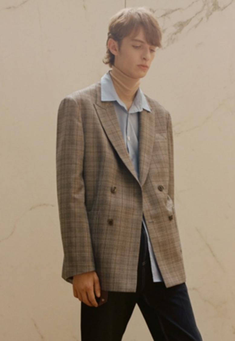 Anderssonbell앤더슨벨 AMSTERDAM CHECK DOUBLE BREASTED JACKET awa156u (BROWN CHECK)