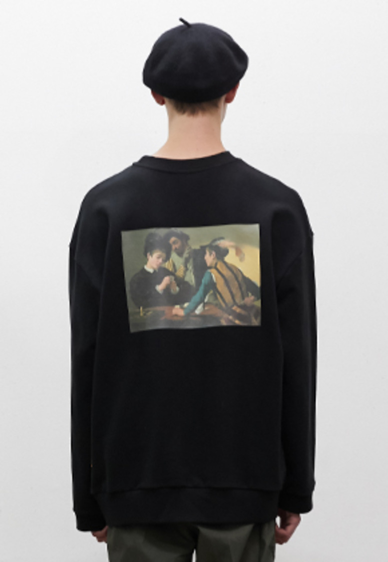 SNACKCULTURE스낵컬쳐 Cardsharps Oversized Sweatshirt_Black