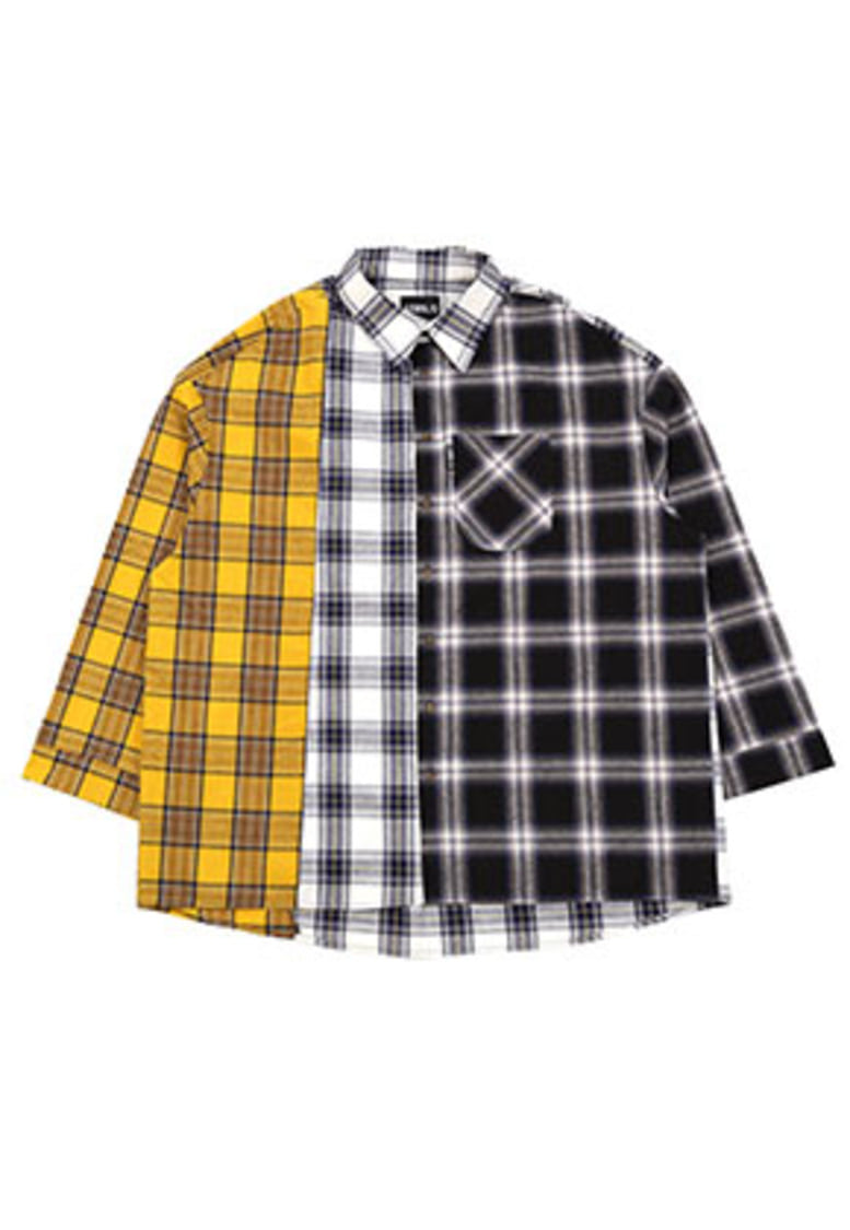 Over Check Color Mixed Shirt (Yellow)