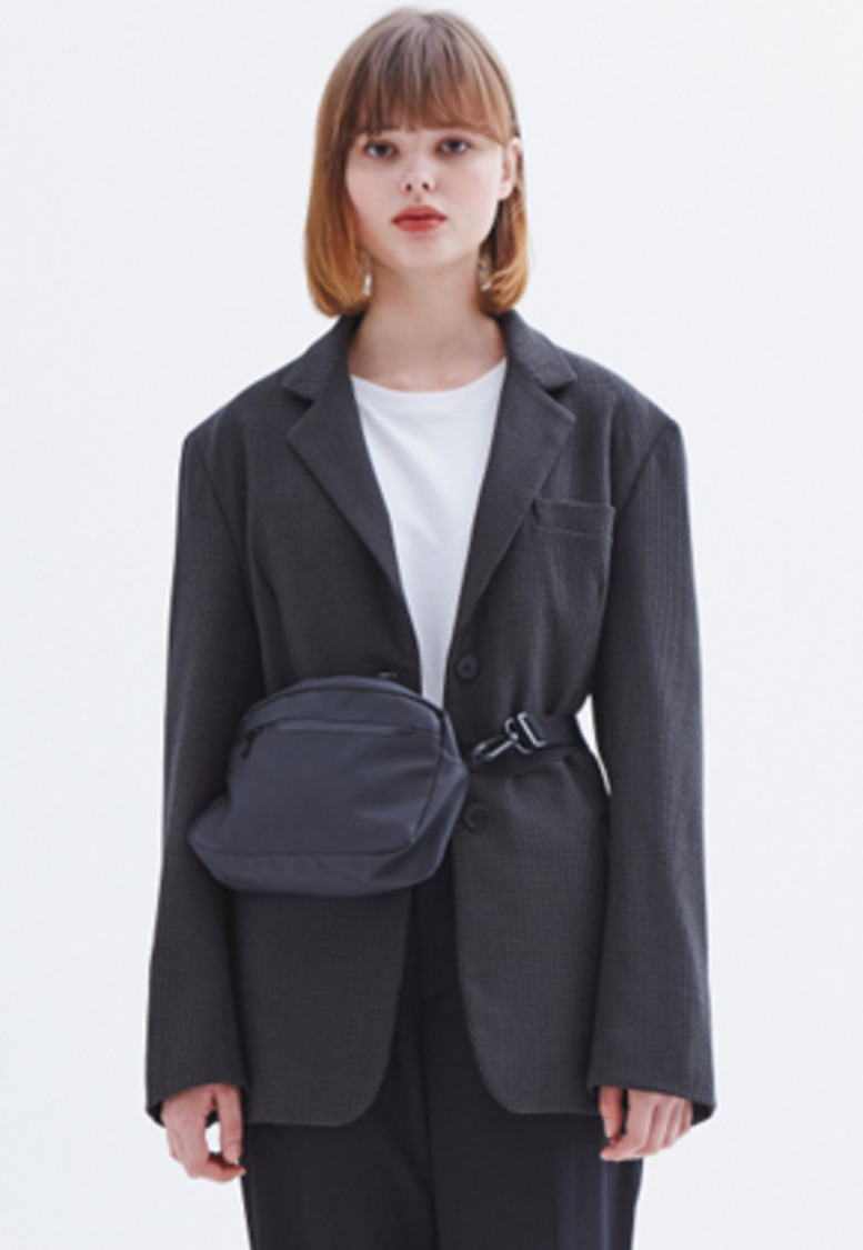 MMGL미니멀가먼츠랩 Women's oversized blazer (Khaki-Check)
