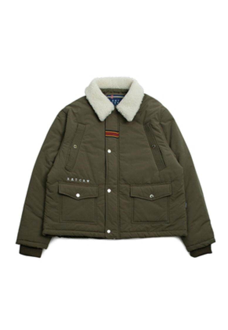Romantic Crown로맨틱크라운 Chest Pocket Sherpa Jacket_Khaki