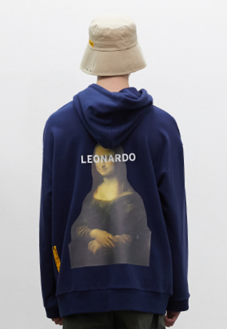 SNACKCULTURE스낵컬쳐 Mona Lisa Oversized Hoody Sweatshirt_Navy