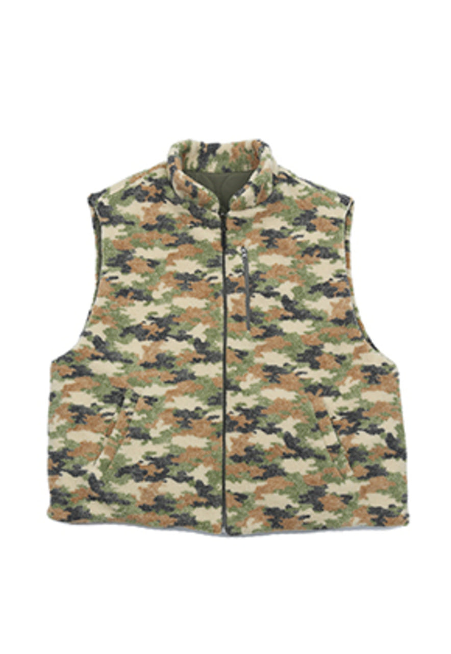 AJO BY AJO FINK LABEL Reversible Fake Fur Vest [Camo]