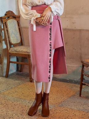 VVV브이브이브이 VVV PINK LOGO TAPE WRAP SKIRT