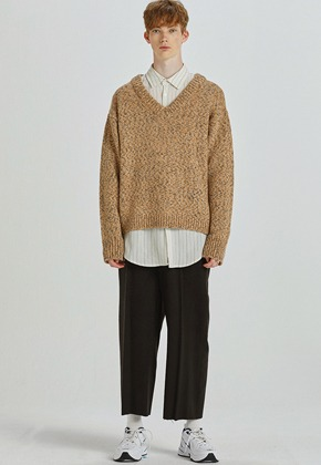 Haleine알렌느 ORANGE BROWN mix V-neck knit(HT017)