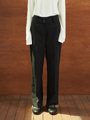 TMO BY 13Month 티엠오 바이 써틴먼스 TWO BUTTON WIDE SLACKS (BLACK)