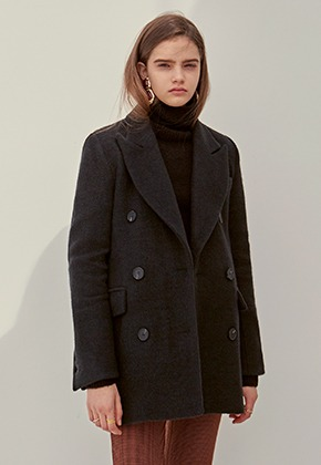 Yan13얀써틴 WOOL ANGORA HALF COAT_BLACK
