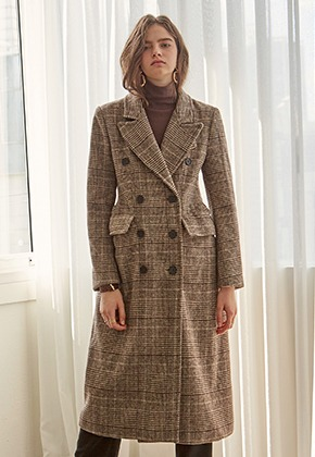 Yan13얀써틴 BREASTED WOOL CH COAT_BROWN