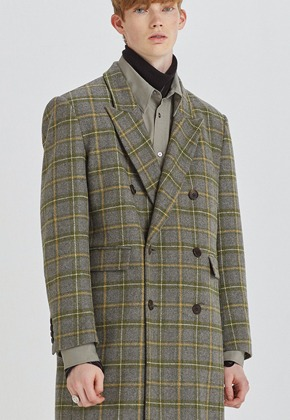 Haleine알렌느 OLIVE check wool clasic long doublebleast coat(HJ028)