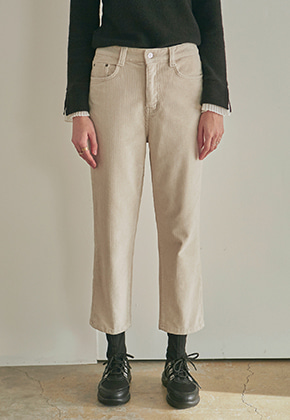 Yan13얀써틴 CORDUROY STRAIGHT PANTS_CREAM