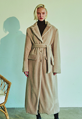 Deans딘스 [DEANS] FUR LONG SINGLE COAT_LIGHT BEIGE