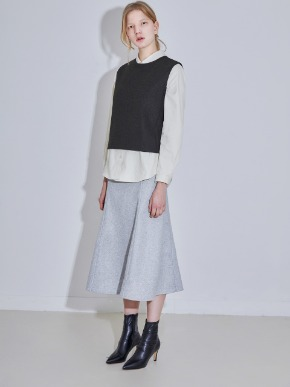 More or Less모어올레스 WOOL LONG SKIRT - MELANGE