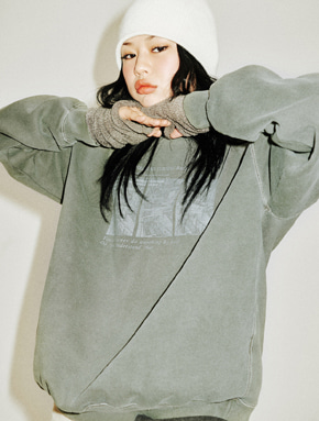 Choisi쵸이지 Faded Sweatshirt, Khaki (*기모추가)