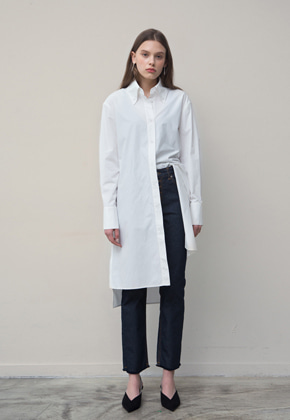 PART OF UNIVERSE파트 오브 유니버스 Side Pocket Shirts Dress (White)