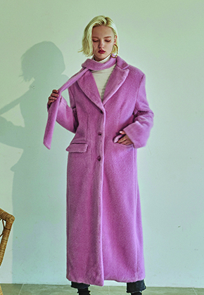 Deans딘스 [DEANS] FUR LONG SINGLE COAT_PINK