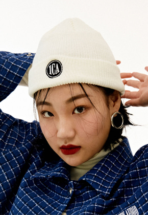 INNER CITY AUDIO이너시티오디오 CIRCLE LOGO EMBROIDERY BEENIE WHITE