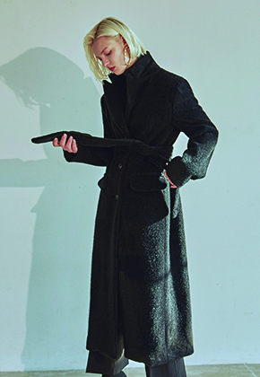 Deans딘스 [DEANS] FUR LONG SINGLE COAT_BLACK