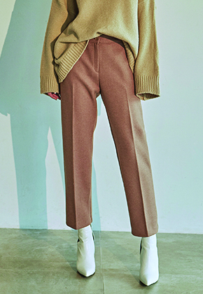 Deans딘스 [DEANS] WOOL STRAIGHT LINE SLACKS_BEIGE