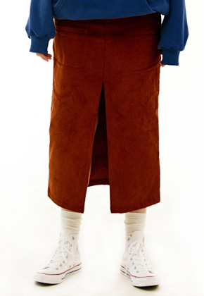 INNER CITY AUDIO이너시티오디오 CARPENTER CORDUROY LONG SKIRT BROWN