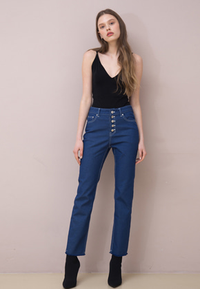PART OF UNIVERSE파트 오브 유니버스 Button Fly Cropped Jeans (Blue)