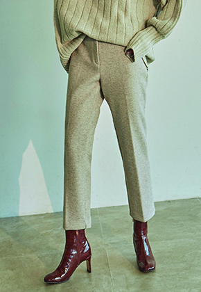 Deans딘스 [DEANS] WOOL STRAIGHT LINE SLACKS_OATMEAL