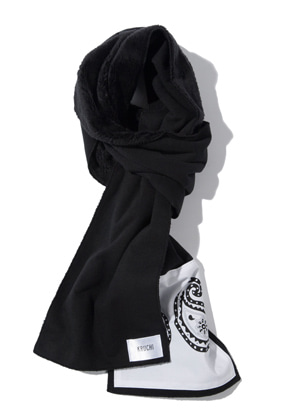 Kruchi크루치 Paisley patch muffler  - (black)