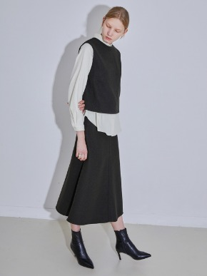 More or Less모어올레스 WOOL LONG SKIRT - DEEP KHAKI
