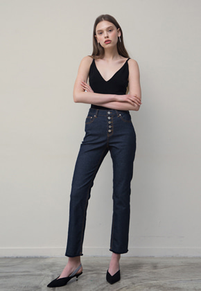 PART OF UNIVERSE파트 오브 유니버스 Button Fly Cropped Jeans (Navy)