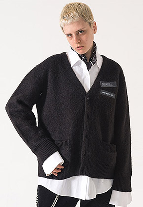 MMIC엠엠아이씨 MOHAIR CARDIGAN (BLACK) - MM-KN-101-1