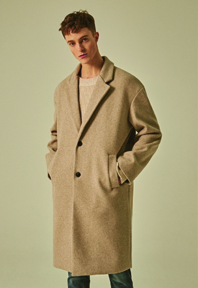 Deans딘스 [DEANS] WOOL SEMI OVER SINGLE COAT_BEIGE