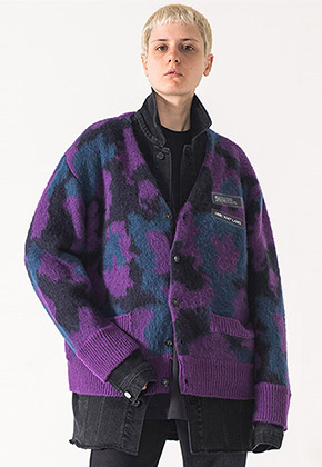 MMIC엠엠아이씨 MOHAIR CARDIGAN (PURPLE) - MM-KN-101-2