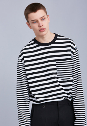 Voiebit브아빗 V349 DIFFERENT STRIPE  LONG-SLEEVE  BLACK