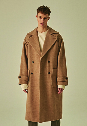 Deans딘스 [DEANS] WIDE LAPEL DOUBLE WOOL COAT_BEIGE