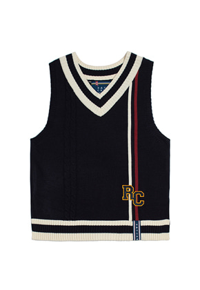 Romantic Crown로맨틱크라운 RC Double Line Vest_Navy