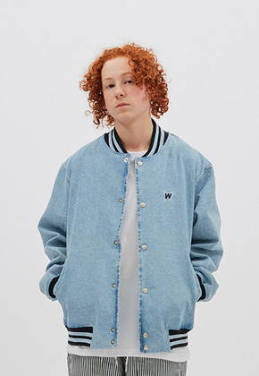 WKNDRS위캔더스 RETRO STADIUM JACKET (L.DENIM)