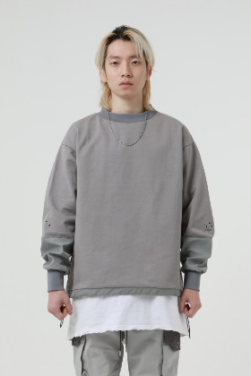 De-Nage드네이지 Divide Square Sweatshirt Grey