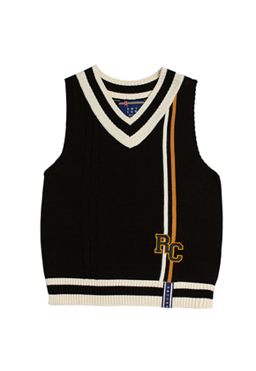 Romantic Crown로맨틱크라운 RC Double Line Vest_Black