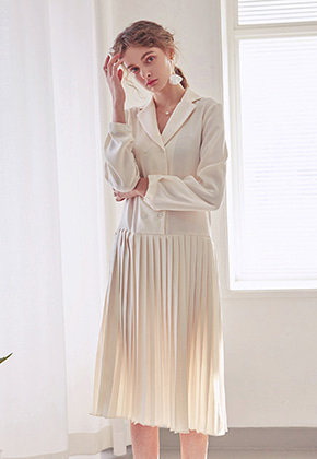 Yan13얀써틴 PLEATS DOUBLE LONG OPS_IVORY